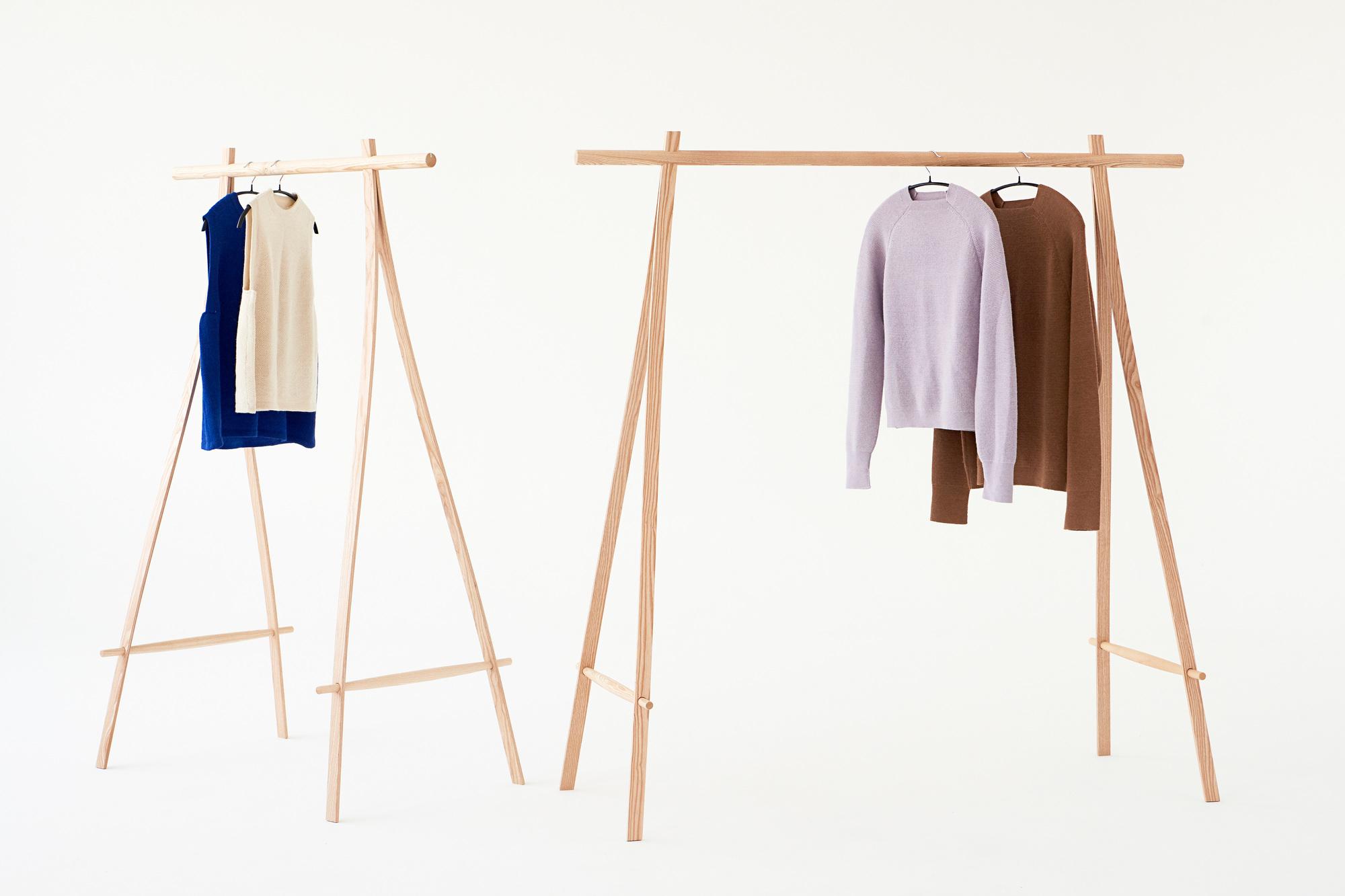 Coat Stand Standgarderobe Esche/Aluminium 100cm Made by Hand