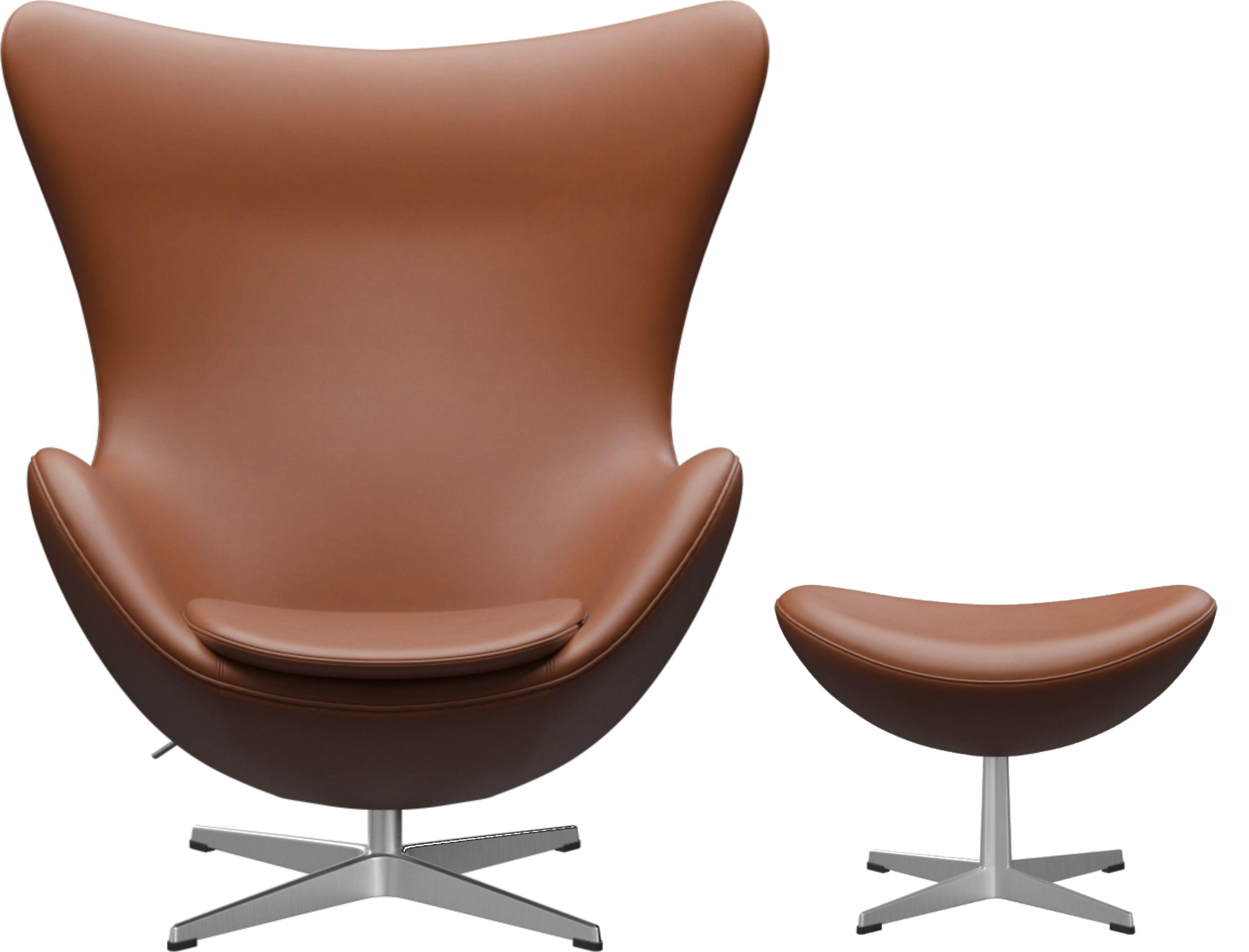 Egg Chair mit Hocker Aktionsmodell Essential Leder Fritz Hansen