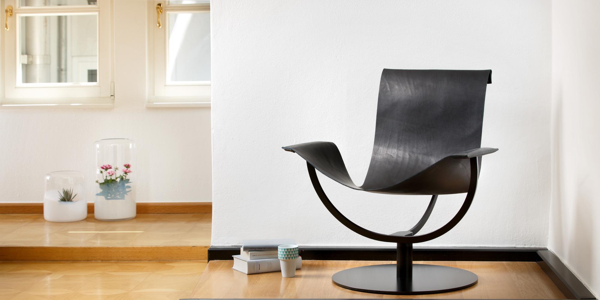 Arch Chair Sessel Kernleder schwarz Favius