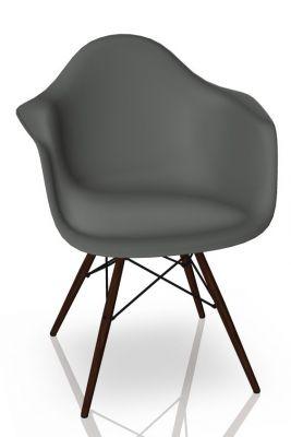 Eames Plastic Arm Chair DAW Stuhl Vitra Ahorn dunkel - Granitgrau