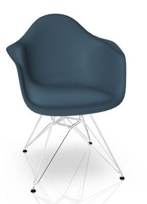 Vitra Eames Plastic Arm Chair DAR Stuhl Vitra Verchromt - Meerblau