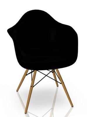 Eames Plastic Arm Chair DAW Stuhl Vitra Esche - Tiefschwarz