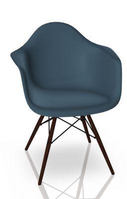 Eames Plastic Arm Chair DAW Stuhl Vitra Ahorn dunkel - Meerblau