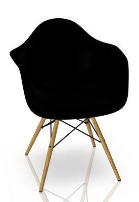 Eames Plastic Arm Chair DAW Stuhl Vitra Ahorn gelblich - Tiefschwarz