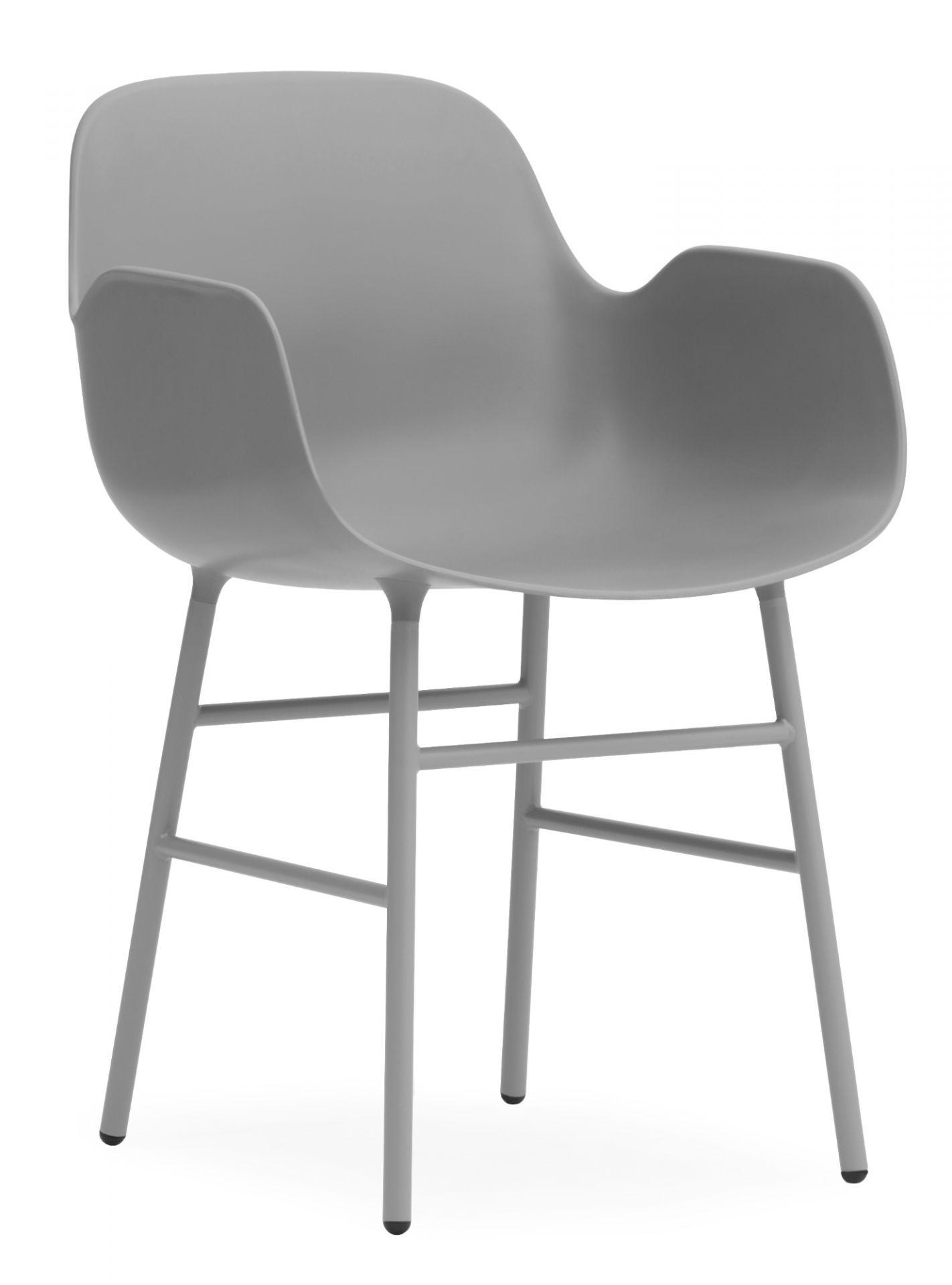 Form Armchair Lehnstuhl Normann Copenhagen-grau-Stahl