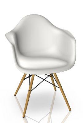 Eames Plastic Arm Chair DAW Stuhl Vitra Ahorn gelblich - Weiss