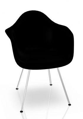 Eames Plastic Arm Chair DAX Stuhl Vitra Chrom - Tiefschwarz