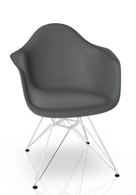 Eames Plastic Arm Chair DAR Stuhl Vitra Verchromt - Granitgrau
