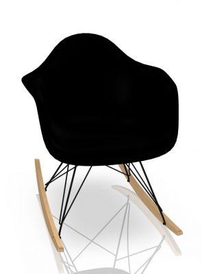 Eames Plastic Arm Rocking Chair RAR Schaukelstuhl Vitra Ahorn gelblich - Schwarz - Tiefschwarz