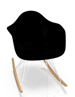 Eames Plastic Arm Rocking Chair RAR Schaukelstuhl Vitra Ahorn gelblich - Chrom - Schwarz