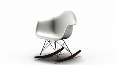 Vitra Eames Plastic Arm Rocking Chair RAR Schaukelstuhl Ahorn dunkel-Schwarz-Weiss
