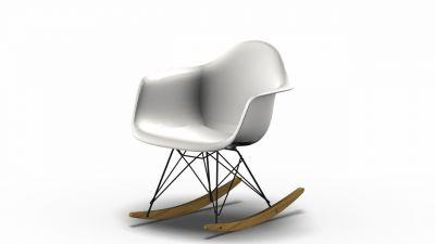 Eames Plastic Arm Rocking Chair RAR Schaukelstuhl Vitra Ahorn gelblich - Schwarz - Weiss