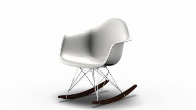 Vitra Eames Plastic Arm Rocking Chair RAR Schaukelstuhl Ahorn dunkel-Chrom-Weiss