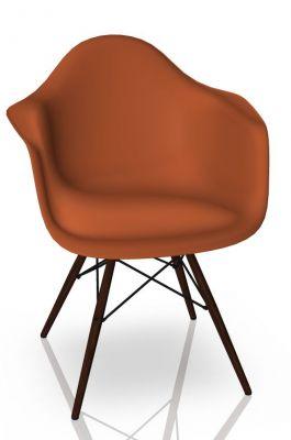 Eames Plastic Arm Chair DAW Stuhl Vitra Ahorn dunkel - Rostorange