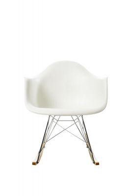 Eames Plastic Arm Rocking Chair RAR Schaukelstuhl Vitra Ahorn gelblich - Chrom - Weiss